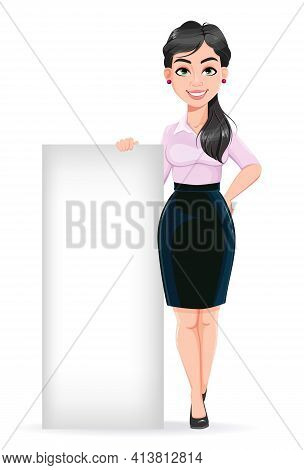 Beautiful Successful Business Woman Cartoon Character Standing Near Blank Placard. Usable As Manager