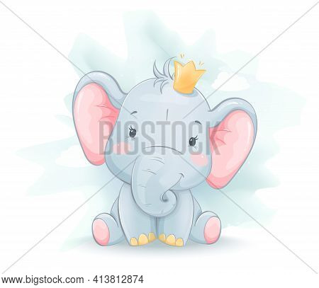 Cute Little Elephant In Crown. Funny Cartoon Character. Stock Vector Illustration