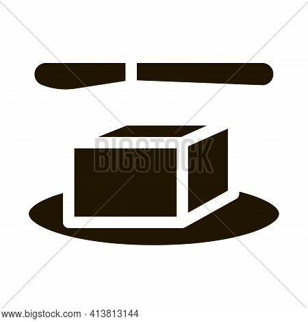 Whole Piece Of Butter And Knife Glyph Icon Vector. Whole Piece Of Butter And Knife Sign. Isolated Sy