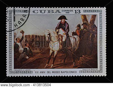 Bakhmut, Ukraine, March, 2021. Stamp Depicting Napoleon On Horseback Among His Troops.