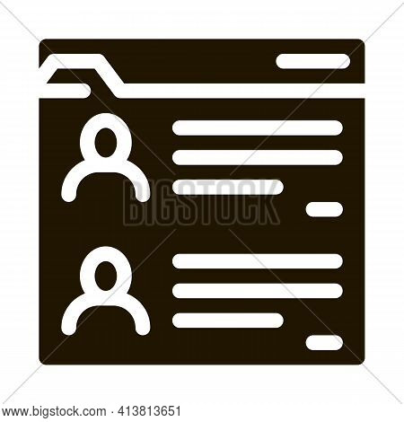 Personal Files Of People Glyph Icon Vector. Personal Files Of People Sign. Isolated Symbol Illustrat