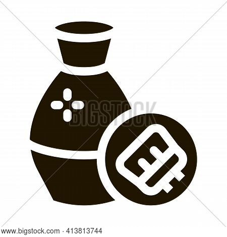 Clay Vase Cleansing Glyph Icon Vector. Clay Vase Cleansing Sign. Isolated Symbol Illustration