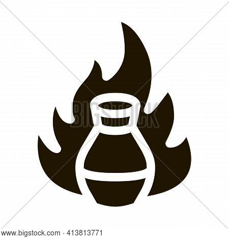 Clay Vase On Fire Glyph Icon Vector. Clay Vase On Fire Sign. Isolated Symbol Illustration