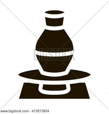 Vase On Pottery Wheel Glyph Icon Vector. Vase On Pottery Wheel Sign. Isolated Symbol Illustration