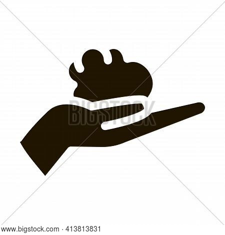 Piece Of Clay In Hands Glyph Icon Vector. Piece Of Clay In Hands Sign. Isolated Symbol Illustration