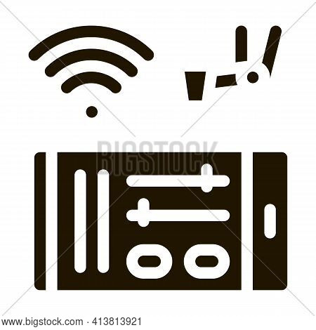 Telephone Settings Via Wi-fi Glyph Icon Vector. Telephone Settings Via Wi-fi Sign. Isolated Symbol I