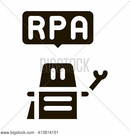 Process Automation Robot Glyph Icon Vector. Process Automation Robot Sign. Isolated Symbol Illustrat