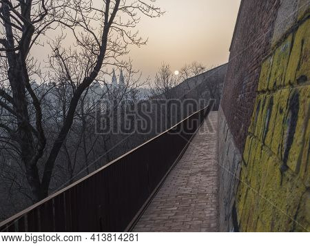 Brick Path, Walkway On Vysehrad Fortification, Old Defense Wall Of The Vysehrad Fortress Ruins In Su