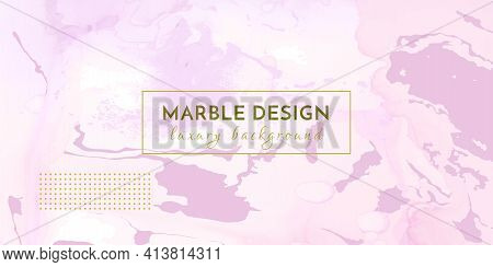 Chic Elegant Background. Liquid Marble Effect. Abstract Vector Frame. Art Texture. Rose Elegant Back