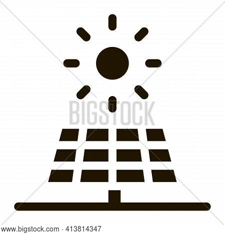 Action Of Sun On Battery Glyph Icon Vector. Action Of Sun On Battery Sign. Isolated Symbol Illustrat