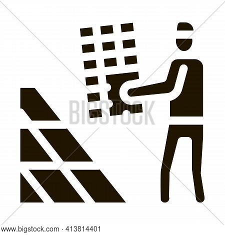 Installer Working Solar Battery Glyph Icon Vector. Installer Working Solar Battery Sign. Isolated Sy