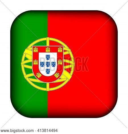 Glass Light Ball With Flag Of Portugal. Squared Template Icon. Portuguese National Symbol. Glossy Re