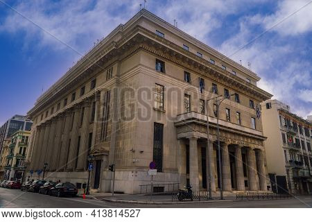 Thessaloniki, Greece - March 13 2021: The Bank Of Greece Building Facade. External Day View Of Neocl