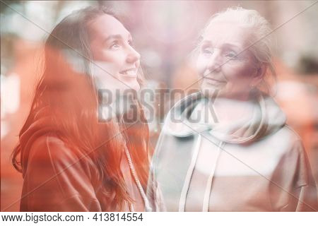 Grandmother And Granddaughter Women Double Exposure Image. Young And Senior Woman Portrait. Love, Ge