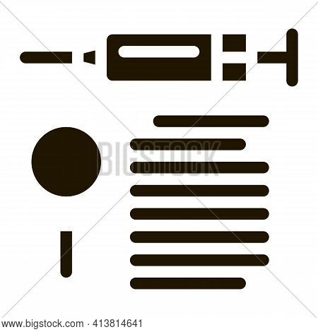 Study Of Action Of Injection Glyph Icon Vector. Study Of Action Of Injection Sign. Isolated Symbol I