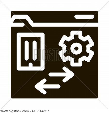 Technical Home Folder Glyph Icon Vector. Technical Home Folder Sign. Isolated Symbol Illustration