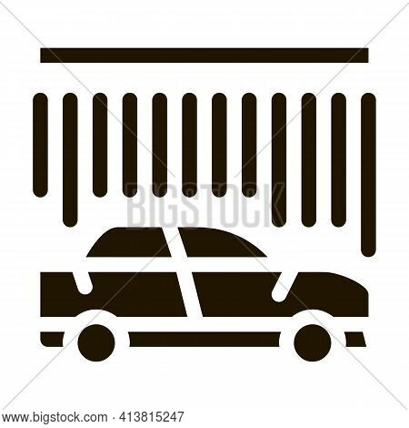 Continuous Car Wash Glyph Icon Vector. Continuous Car Wash Sign. Isolated Symbol Illustration