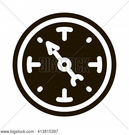 Clock Shows Time Glyph Icon Vector. Clock Shows Time Sign. Isolated Symbol Illustration
