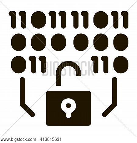Binary Security Code Glyph Icon Vector. Binary Security Code Sign. Isolated Symbol Illustration