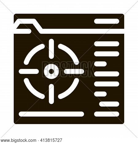 Target To Specific Folder Glyph Icon Vector. Target To Specific Folder Sign. Isolated Symbol Illustr