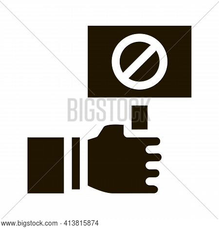 Flag Sign Indicating Protest Glyph Icon Vector. Flag Sign Indicating Protest Sign. Isolated Symbol I