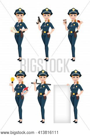 Police Woman In Uniform, Set Of Six Poses. Female Police Officer Cartoon Character. Stock Vector Ill