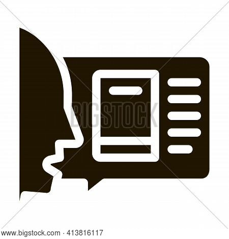 Man Opinion About Book Glyph Icon Vector. Man Opinion About Book Sign. Isolated Symbol Illustration