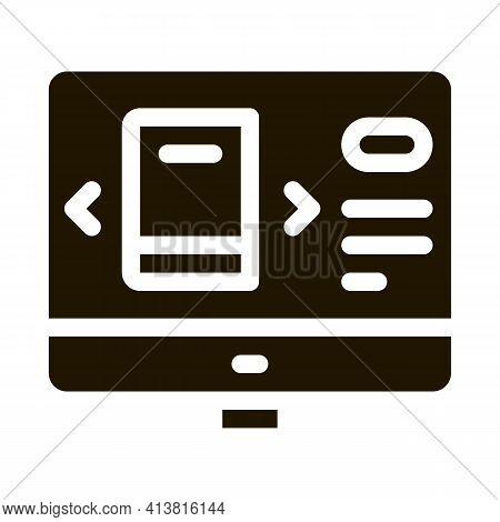 Computer Book Selection Glyph Icon Vector. Computer Book Selection Sign. Isolated Symbol Illustratio