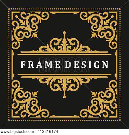 Vintage Frame Border Ornament And Vignettes Swirls Decoration