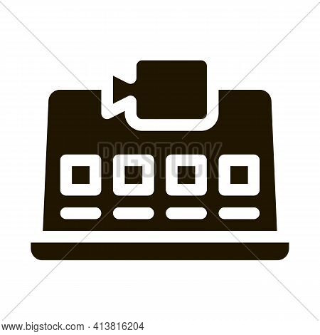 Laptop Video Recording Glyph Icon Vector. Laptop Video Recording Sign. Isolated Symbol Illustration