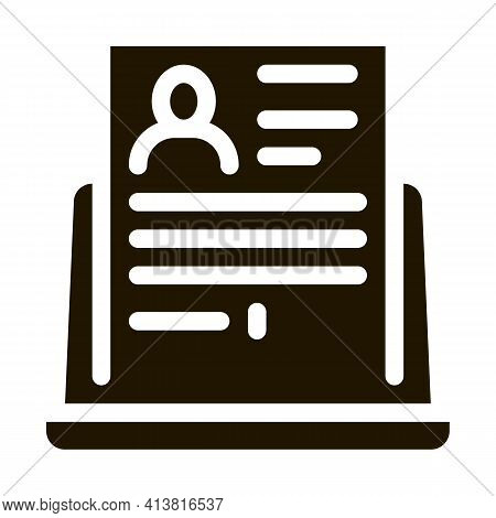 Complete Computer Information About Person Glyph Icon Vector. Complete Computer Information About Pe