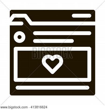 Favorite Info Folder Glyph Icon Vector. Favorite Info Folder Sign. Isolated Symbol Illustration