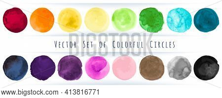 Watercolor Circle Vector. Abstract Shapes Background. Colorful Drops Splatter. Grunge Watercolor Cir