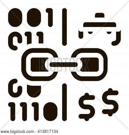 Linking Binary Code To Money Glyph Icon Vector. Linking Binary Code To Money Sign. Isolated Symbol I