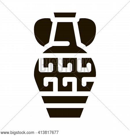 Greek Ornamental Vase Glyph Icon Vector. Greek Ornamental Vase Sign. Isolated Symbol Illustration