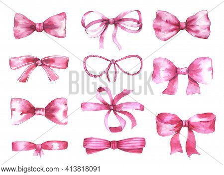 Watercolor Illustrations. Pink Bows. Silk, Satin Bow. High Quality Illustration
