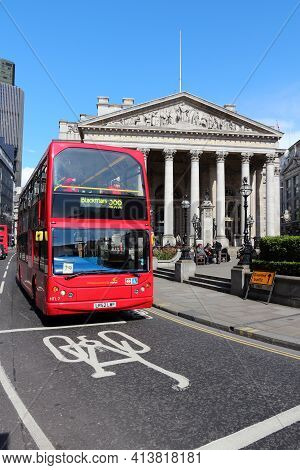 London, Uk - May 15, 2012: People Ride London Bus In Bank Junction, London. As Of 2012, Lb Served 19
