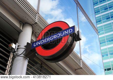 London, Uk - May 13, 2012: London Underground Station Entrance In London. London Underground Is The
