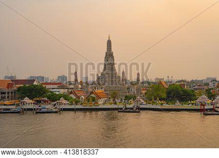 Temple Of Dawn Or Wat Arun With Chao Phraya River, Bangkok, Thailand In Rattanakosin Island In Archi