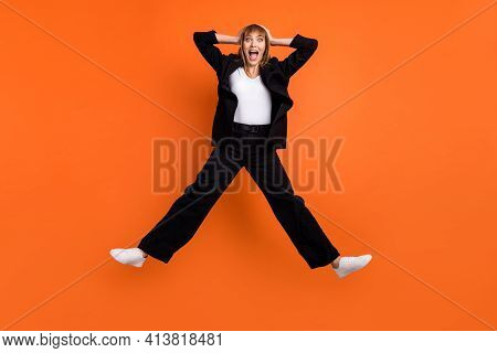 Full Size Photo Of Young Happy Excited Crazy Amazed Crazy Girl Jumping See Huge Sale Discount Isolat