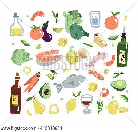 Mediterran Food Flat Set. South Europa Diet. Mediterranen Healthy Lifestyle. Seafood And Vegetables.