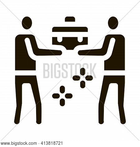 Common Work Of Two People Glyph Icon Vector. Common Work Of Two People Sign. Isolated Symbol Illustr