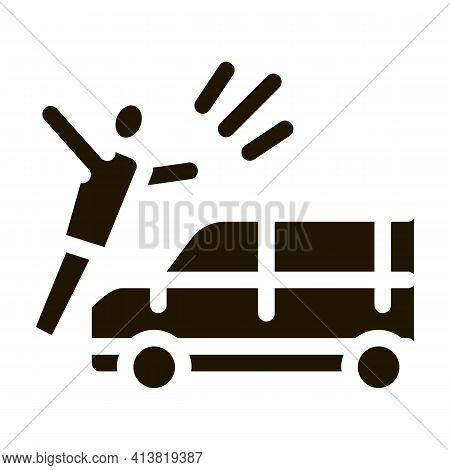 Pedestrian Hit By Car Glyph Icon Vector. Pedestrian Hit By Car Sign. Isolated Symbol Illustration