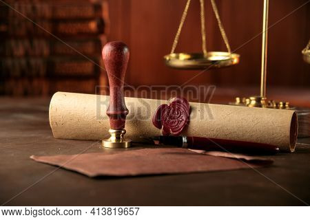 Stamp, Envelope, Testament And Scales. Notary Public Tools