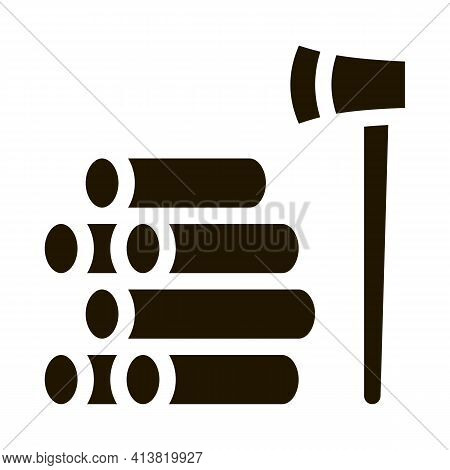 Felling Of Trees Glyph Icon Vector. Felling Of Trees Sign. Isolated Symbol Illustration