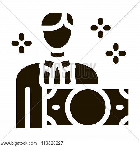 Man Gets Money Glyph Icon Vector. Man Gets Money Sign. Isolated Symbol Illustration