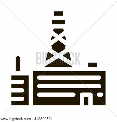 Telephone Connection Station Tower Glyph Icon Vector. Telephone Connection Station Tower Sign. Isola