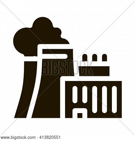Nuclear Power Plant Glyph Icon Vector. Nuclear Power Plant Sign. Isolated Symbol Illustration