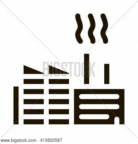 Discharge Of Station Harmful Substances Into Air Glyph Icon Vector. Discharge Of Station Harmful Sub