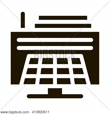 Thermal Solar Stations Glyph Icon Vector. Thermal Solar Stations Sign. Isolated Symbol Illustration